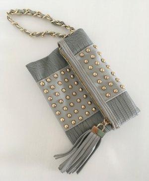 NEU River Island Nieten Clutch Grau Kette kleine Handtasche Wristlet Abendtasche