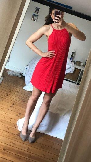 NEU rotes Hängerchen Kleid Sommerkleid Turtleneck Kleid Ripp