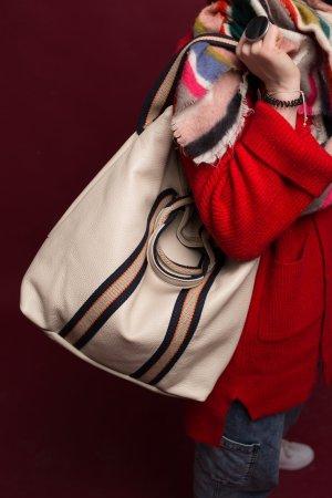 NEU Rucksack Lederrücksack Handtasche Tasche Leder beige  2 in 1