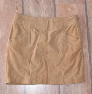 Mango casual Leather Skirt camel leather