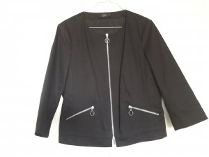 NEU s.Oliver Black Label Blazer Boxy-Stil mit Zippern 3/4 Ärmel schwarz silber Gr. 38
