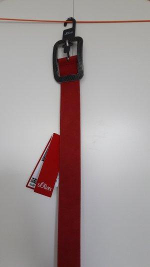 NEU s.Oliver Echtleder Gürtel Wildleder rot große Schnalle Altsilber 90er Länge
