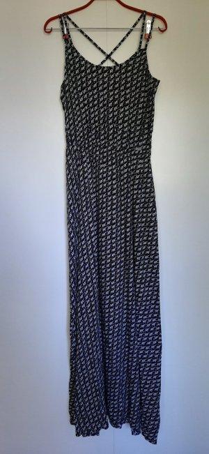 NEU s.Oliver Q/S Maxikleid aus Webstoff schwarz weiß abstraktes Muster Gr. 36