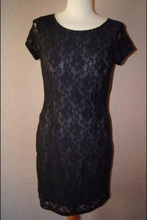 NEU s.Oliver Spitzenkleid schwarz Spitzenüberwurf Abendkleid elegant
