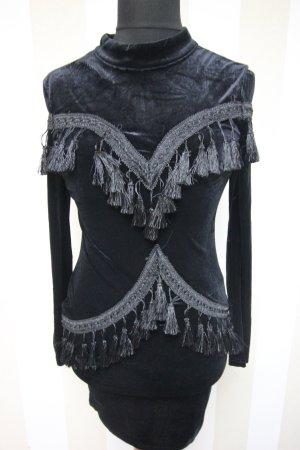 NEU Samt Velvet Kleid Fransen Abendkleid Cocktailkleid Dress