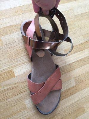 NEU: Sandale Echtleder matallic