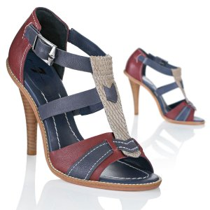 7 For All Mankind High-Heeled Sandals blue-red leather