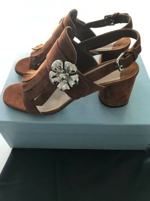 Prada Strapped High-Heeled Sandals cognac-coloured-silver-colored suede