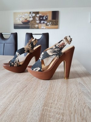 Cafènoir Platform High-Heeled Sandal multicolored leather