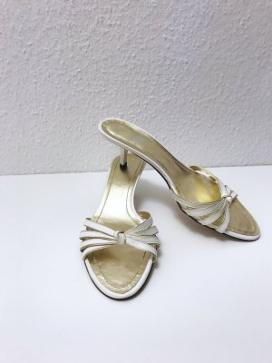 High-Heeled Toe-Post Sandals white leather