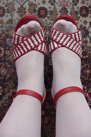 Wedge Sandals red-white leather