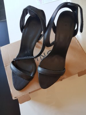 Mango Strapped Sandals black leather