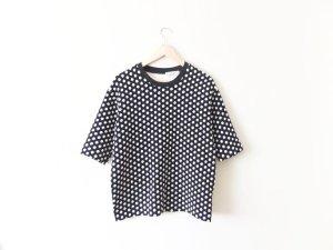 neu Sandro Shirt Top Gr. 3 38 40 schwarz weiß gepunktet Seide Baumwolle trend
