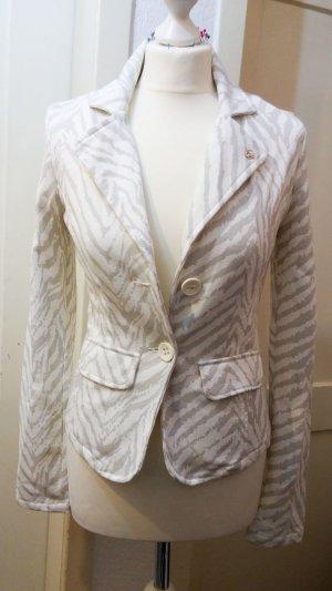 Neu! schicker Jersey Blazer weiß creme grau mit Zebramuster Gr. 36 S