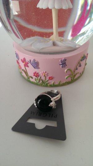 NEU Schöner Pilgrim Ring im Vintage-Stil, silber/schwarz