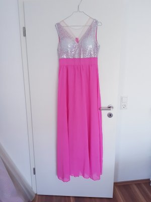 NEU schönes langes Pailletten Kleid mit V-Ausschnitt pink Gr. S