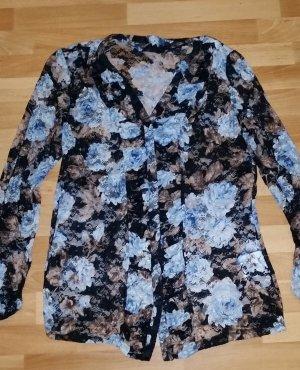 NEU schönes Spitzen Oberteil/ Bluse mit Blumenmuster in babyblau-braun/ Gr. 40