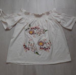 NEU :Schulterfrei Shirt mit Stickerei und Pailletten Größe S