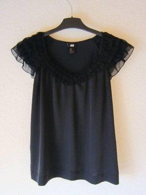 NEU: Schwarze Satin-Bluse mit Volantärmeln