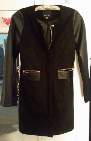 Neu schwarzer Wintermantel Leder Gr. 36