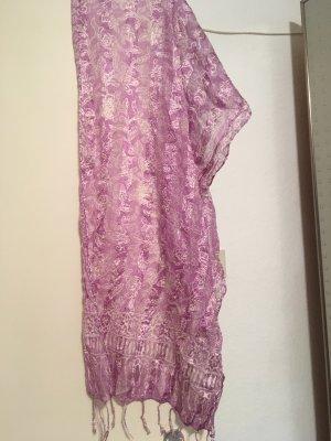 Sciarpa di seta viola-bianco
