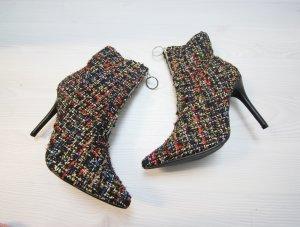 NEU Sergio Todzi Stiefeletten High Heels Boots Tweed Boucle Stoff chic