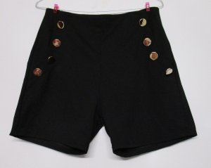 Neu Sexy Hot Pants Kurze Hose Colloseum Größe L 40 Schwarz goldfarbene Knöpfe Matrose Stretch Shorts