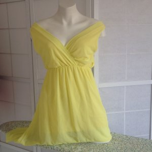 Off the shoulder jurk lichtgeel-geel