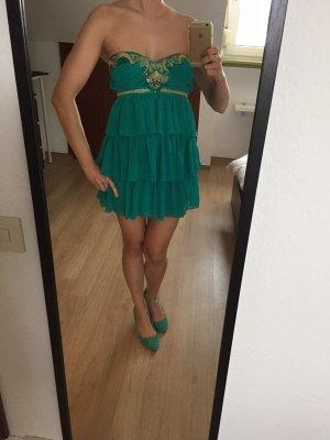 Neu! Sexy türkises Mini-Chiffon-Kleid von Lipsy im Orient-Stil