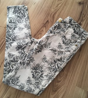 Neu Shine Blumen Röhren Jeans W26 XS 34 Floral Nude Grau Slim Fit Ankle Skinny Hose Low Waist