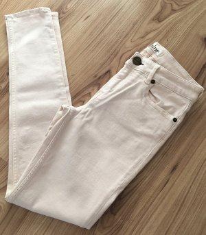 Neu Shine Röhren Jeans W26 XXS 32 XS 34 Nude Creme Weiß Slim Fit Ankle Super Skinny Hose Low Waist