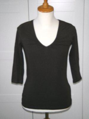 NEU, Shirt, Basic, 3/4-Arm, braun, V-Ausschnitt mit Raffung, Gr. S, H&M
