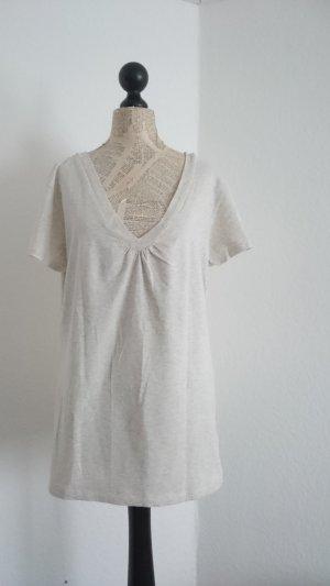 Camisa con cuello V blanco-blanco puro