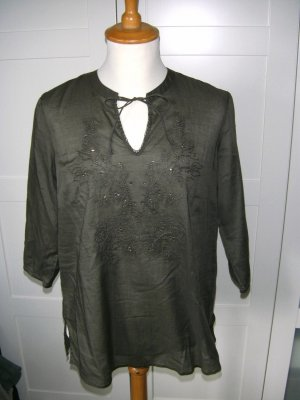 neu, Shirt, Tunika, Sommershirt, Stickereien, oliv, khaki, Bonita, Gr. 40