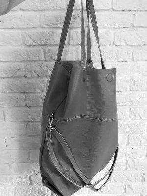 NEU Shopper Umhängetasche Vintage-Look Ledertasche Handtasche grau