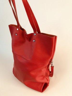 NEU Shopper Umhängetasche Vintage-Look Ledertasche Handtasche rot