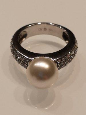 NEU! Silberring mit Perle und Zirkoniasteinen Gr. 52