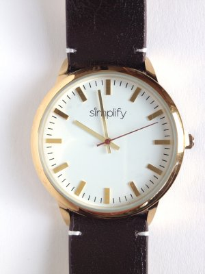 Watch With Leather Strap multicolored leather