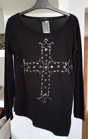 NEU Sisley Langarm Shirt Saum Asymmetrisch schwarz S