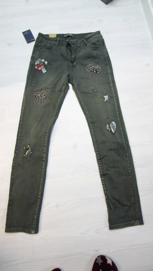 Drainpipe Trousers green grey-red