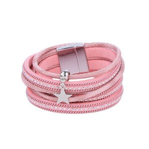 Bracelet silver-colored-pink imitation leather