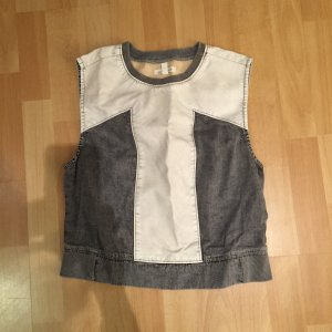 Neu Sleeveless top mit Faux Leder detailing