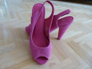 Neu! Slingbacks Peeptoes Slingpumps H&M 40 pink Wildleder