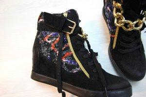 NEU Sneaker Wedges Keilabsatz Boots Chain Ketten Details Zipper