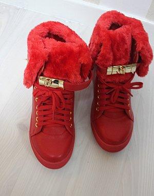 Sneaker rosso-oro