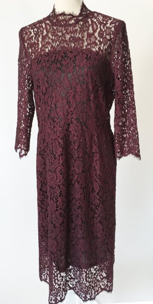 "* NEU * Soaked In Luxury ""Asta Lace Dress - winetasting"" Kleid L 40 Abendkleid Cocktailkleid dunkelrot bordeaux rotbraun spitze geblümt"