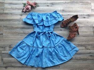 NEU Sommer Kleid Hellblau Gr. S M Volants Off Shoulder ausgestellt