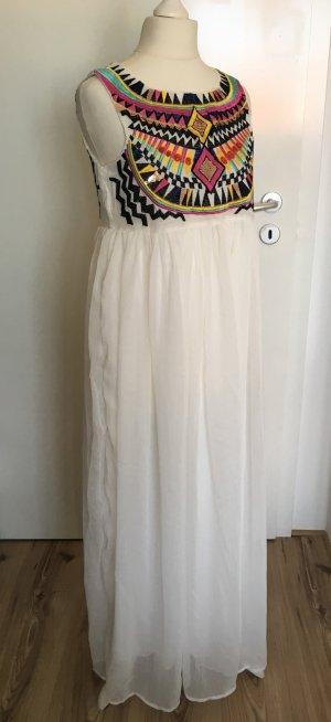 NEU Sommer Maxikleid XS 34 Stickerei Aztek Weiß Bestickt Blogger Azteken Kleid
