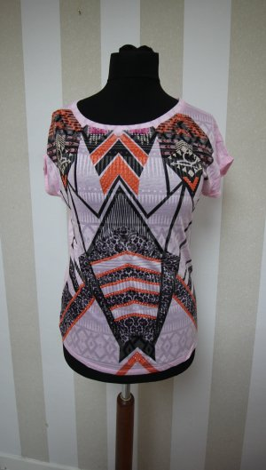 Camicia a tunica nero-rosa