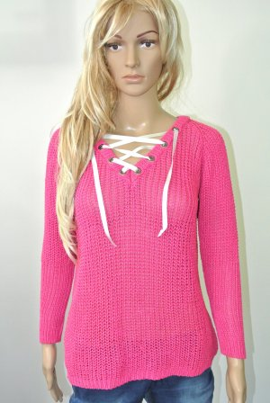 Maglione lavorato a maglia rosa-bianco